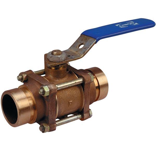 G y three piece bronze ball valve full port