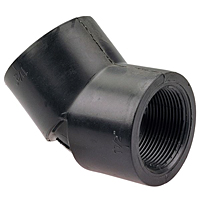 Thread 45° Elbow FPT x FPT - Black Polypropylene Schedule 80, 6106-3-3