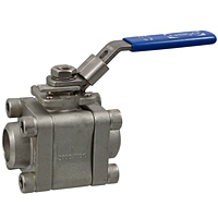 Three-Piece Stainless Steel Ball Valve - Butt Weld ISO Mount, BM-590-S6-R-66-FS-LL