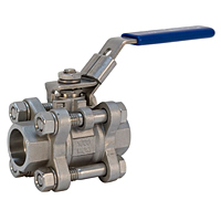 Three-Piece Stainless Steel Ball Valve - Full Port, Socket Weld End Connection, K-595-S6-R-66-LL