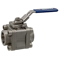 Three-Piece Stainless Steel Ball Valve - Socket Weld ISO Mount, KM-590-S6-R-66-FS-LL