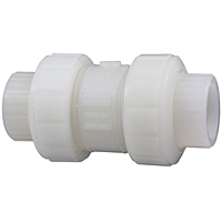 Ball Check Valve - Socket, True Union, Kynar® Natural PVDF Schedule 80, FKM, S66BC-V