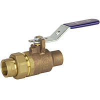 Two-Piece Bronze Ball Valve - Single Union End, Solder x Threaded, ST-585-70-SU