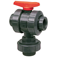 Ball Valve - Threaded, True Union, 3-Way 3-Position Multi-Port, PVC Schedule 80, EPDM, T45M3-E