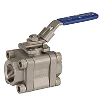Three-Piece Stainless Steel Ball Valve - Threaded ISO Mount, TM-590-S6-R-66-FS-LL