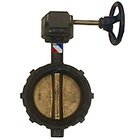 WD-2000 Butterfly Valve - Ductile Iron, Wafer Type, 200 PSI, Gear