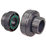FKM/EPDM Threaded Union FPT x FPT - Black Polypropylene Schedule 80, 6133-3-3, 6133E-3-3