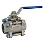 Three-Piece Stainless Steel Ball Valve - Socket Weld ISO Mount, KM-595-S6-R-66