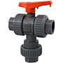Ball Valve - Threaded, True Union, 3-Way 2-Position Diverter, PVC Schedule 80, EPDM, T45D2-E