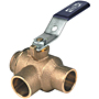 Two-Piece Bronze Ball Valve - Three-Way, Full Port, Solder, S-585-70-66-W3
