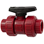 Ball Valve - Model C, Threaded, Tru-Bloc® True Union, Kynar® Red PVDF Schedule 80, EPDM, T65TB-E