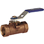 One-Piece Bronze Ball Valve - Reinforced PTFE, Bronze Trim, T-560-BR-R-20