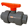 Bleach Ball Valve - Model D, Universal Ends, Tru-Bloc® True Union, Vented Ball, PVC Schedule 80, FKM, U45TB-V-BBV