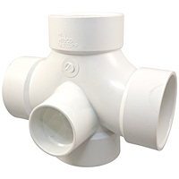 Double Sanitary Tee with Two 90° Inlets Hub - PVC DWV, 4835-9-9
