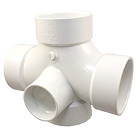 Double Sanitary Tee with 90° Inlet Hub - PVC DWV, 4835-9