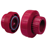 FKM Threaded Union FPT x FPT Kynar® Red PVDF Schedule 80, 6533-3-3