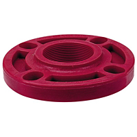 Thread Flange FPT- Kynar® Red PVDF Schedule 80, One-Piece Webbed Design, 6551-W-3