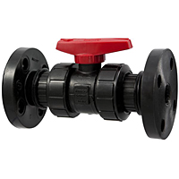 Ball Valve - Model C, Flanged, Tru-Bloc® True Union, Black PP, FKM, F61TB-V