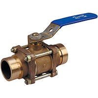 Three-Piece Bronze Ball Valve - Grooved Ends, Stainless Steel Trim, G-590-Y-66