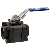 Three-Piece Carbon Steel Ball Valve - Fire Safe, Socket Weld ISO Mount End, KM-590-CS-R-66-FS-LL