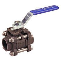 Three-Piece Carbon Steel Ball Valve - Full Port, Socket Weld ISO Mount, KM-595-CS-R-66