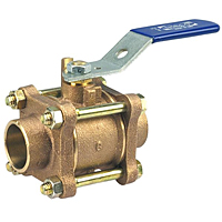 Three-Piece Bronze Ball Valve - Conventional Port, Solder Ends, S-590-Y-66
