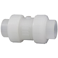 Ball Check Valve - Threaded, True Union, Chem-Pure® Natural Polypropylene Schedule 80, EPDM, T62BC-E