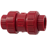Ball Check Valve - Threaded, True Union, Kynar® Red PVDF Schedule 80, FKM, T65BC-V