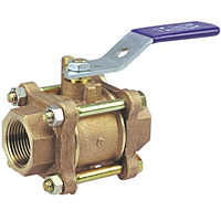 Three-Piece Bronze Ball Valve - Full Port, Stainless Steel External Trim, T-595-Y-SS