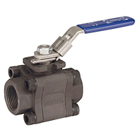 Three-Piece Carbon Steel Ball Valve - Fire Safe, Threaded ISO Mount End, TM-590-CS-R-66-FS-LL