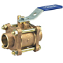 Three-Piece Bronze Ball Valve - Full Port, Solder Ends, UL Listed Flammable Liquids, S-595-Y-UL