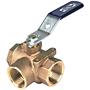 Two-Piece Bronze Ball Valve - Three-Way, Full Port, Threaded, T-585-70-66-W3